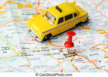 Siena Italy map taxi - Close up of Siena , Italy map with...