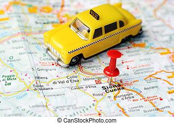 Siena, Itália, mapa, táxi