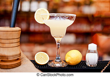 margarita cocktail drink closeup served cold in bar and...
