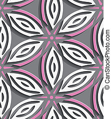White geometrical flowers with pink stars on gray seamless...