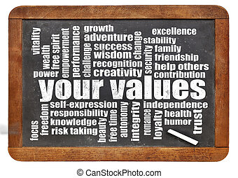 your values word cloud - your life values word cloud on a...