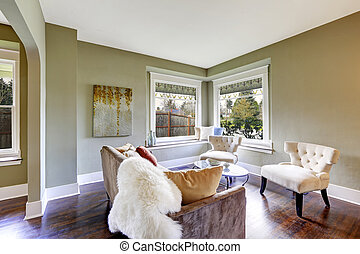 Living room interior with classic white chairs