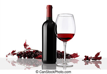composition of wine bottle and glass with bunch of grapes on...