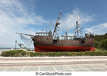 Historic sailing ship in Santander, Cantabria, Spain