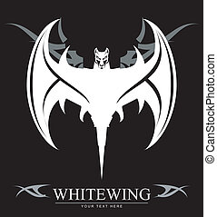 white bat - Stylized Bat over the tribal ornament...