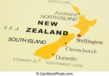 New Zealand on map - Close up of Wellington, New Zealand on...