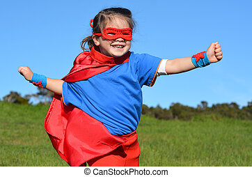 Superhero child - girl power - Superhero child girl runs...