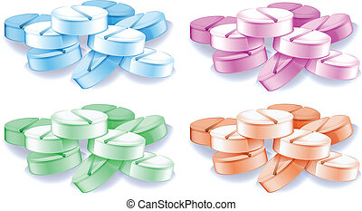 Coloured pills - lllustration of the coloured pills on a...