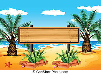 An empty signboard at the beach - Illustration of an empty...