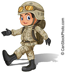 A young smiling soldier - lllustration of a young smiling...