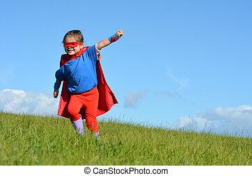 Superhero, dziecko, -, dziewczyna, moc