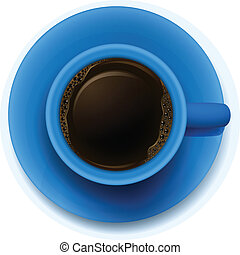 A blue cup with coffee - lllustration of a blue cup with...