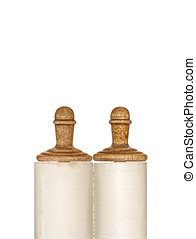 Closed rolled Torah scroll - Wooden roller handles. Isolated...