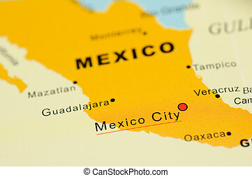 Mexico on map - Close up of Mexico City, Mexico on map