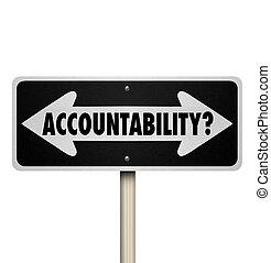 responsável, pergunta, dois, accountability, maneira, sinal,...