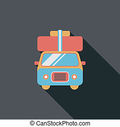Caravan car flat icon with long shadow