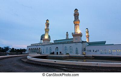 Kota Kinabalu city mosque at dawn in Sabah, Malaysia, Borneo