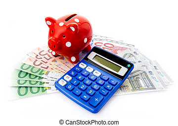 Piggy bank with euro money and calculator