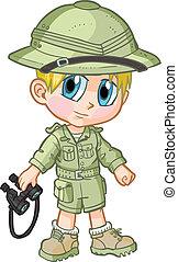 Anime Safari Boy Vector Cartoon - Vector cartoon clip art of...