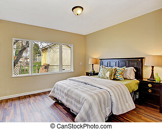 Bedroom interior with queen size bed - Light tones bedroom...