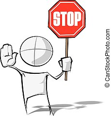 Simple People - Stop - Sparse vector illustration of a of a...