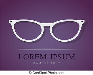 Vector image of Glasses on purple background.