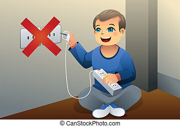 Danger of playing with an electrical outlet - A vector...