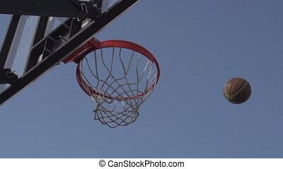 Basketball - The ball enters the basket basketball. Slow...