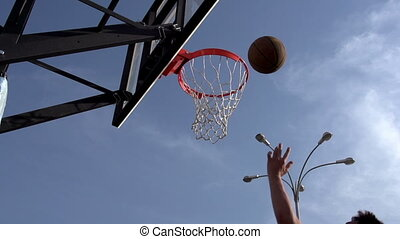 Ball Basketball Hoop - Hand man throws the ball in the...