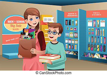 Mother and son buying school supplies