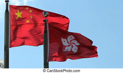 Hong Kong and China Flags - Hong Kong and People's Republic...