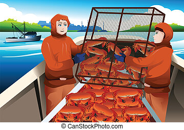 Crab fishermen catching crabs in the sea - A vector...