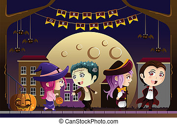 Kids wearing Halloween costumes - A vector illustration of...