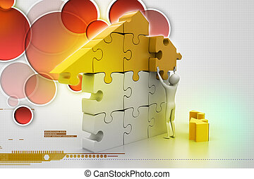 3d man, building the house