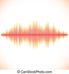 Red sound waveform with triangular arrows - Red sound...