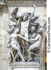Paris. Sculptures on the facade of the Opera Garnier....