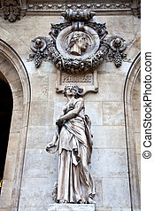 Paris. Sculptures and high reliefs on the facade of Opera...