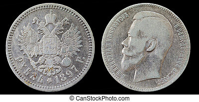 Old russian silver 1 rubl coin of 1897. Isolated on Black...