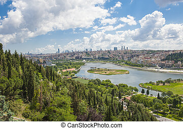 Aerial view over Istanbul Turkey - Aerial panoramic view...