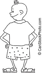 boy in shorts, vector illustration