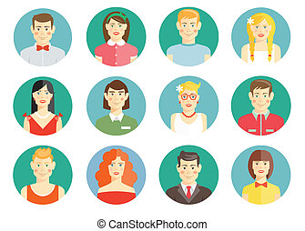 Set of diverse people avatar icons with men and women girls...