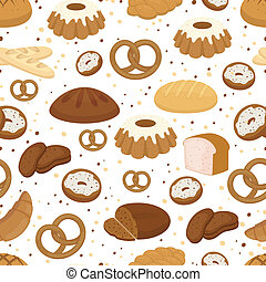 Bread and baking seamless pattern in square format with...