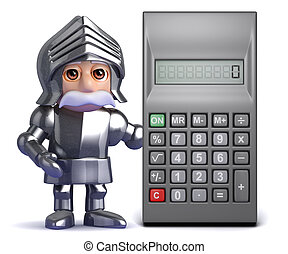 3d Knight in armour with calculator