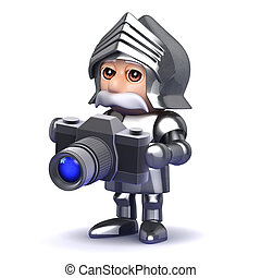 3d Knight in armour taking photos with a camera - 3d render...