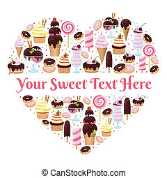 I Love Sweets heart shaped vector design with copyspace for...