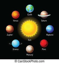 planets icons - Vector set of planets icons Solar system...