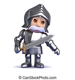 3d Knight in armour leans to the left