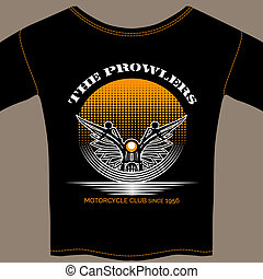 T-shirt template for motorcycle club member with a winged...