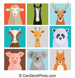 Set of vector animal icons with a sheep horse deer coe...