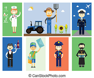 Set of men and women professional characters with colorful...